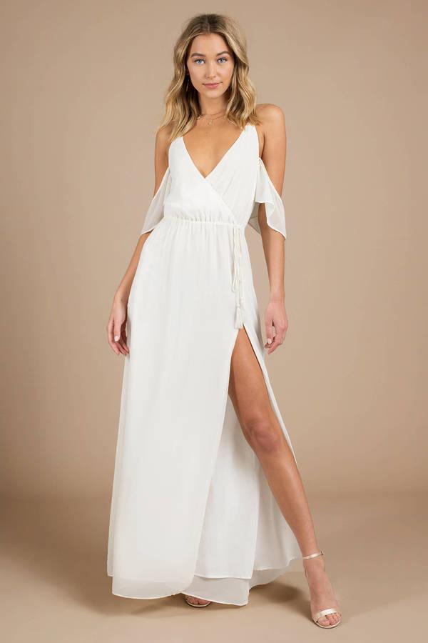 Lovely rose maxi dress slit dress rose dress maxi for Cute white dresses for wedding