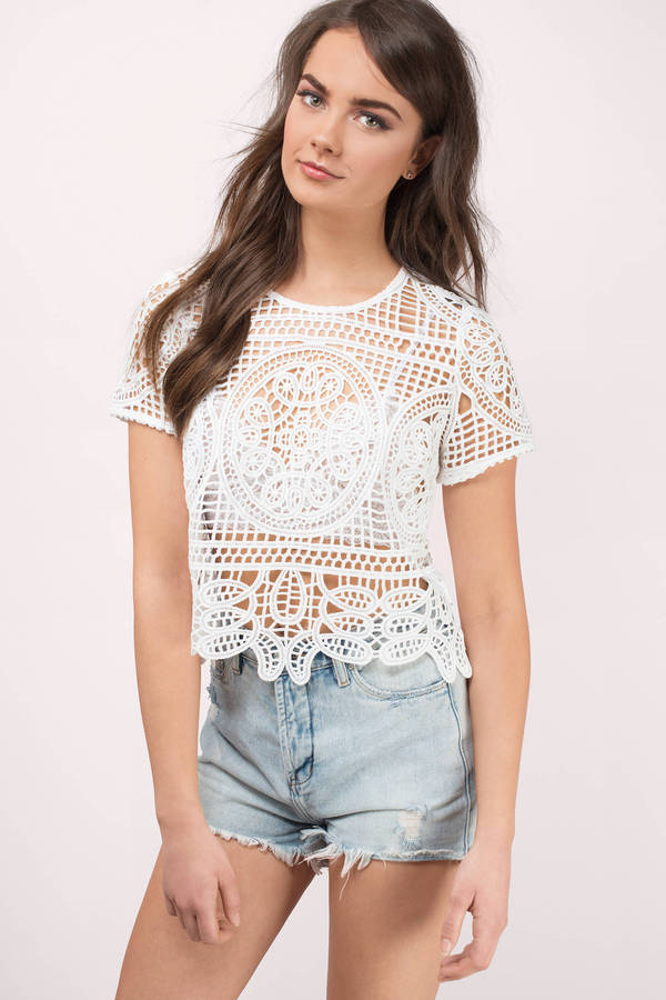 White Top - Festival Top - Cream Lace Top - White Tees - kr 445 ... fa12ee3f7