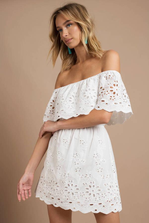e452a576b4 Trendy White Casual Dress - Off Shoulder Dress - White Eyelet Dress ...