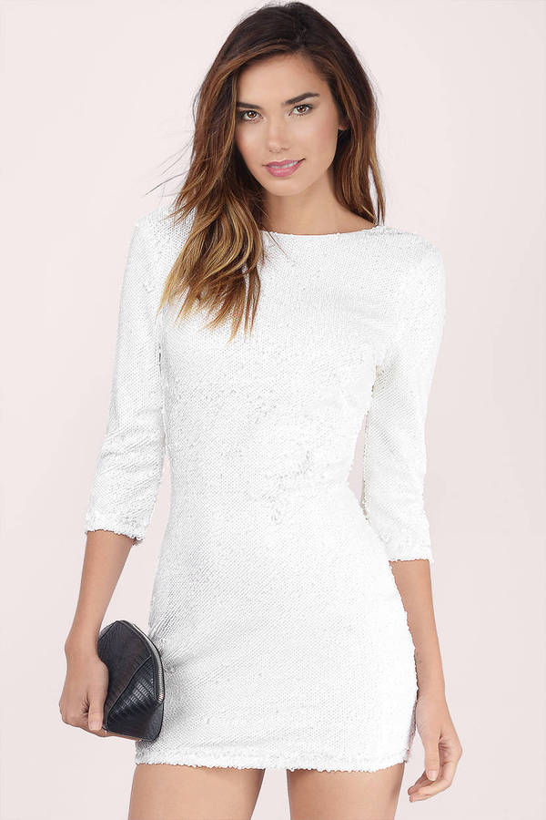 White Bodycon Dress - Long Sleeve Sequin - White New Year s Eve ... 2cf7402af