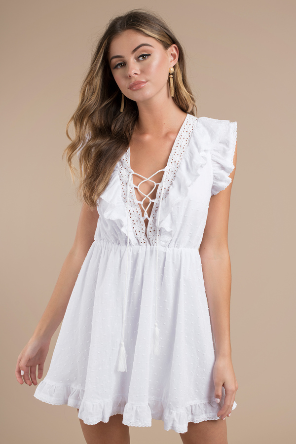 96acf24b9460 White Skater Dress - Lace Up Ruffle Dress - White Cotton Dress ...