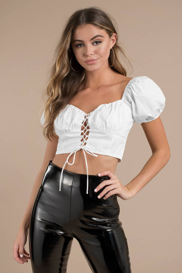 Crop Tops  White Crop Tops, Black Crop Top, Lace, Long Sleeve  Tobi-1271