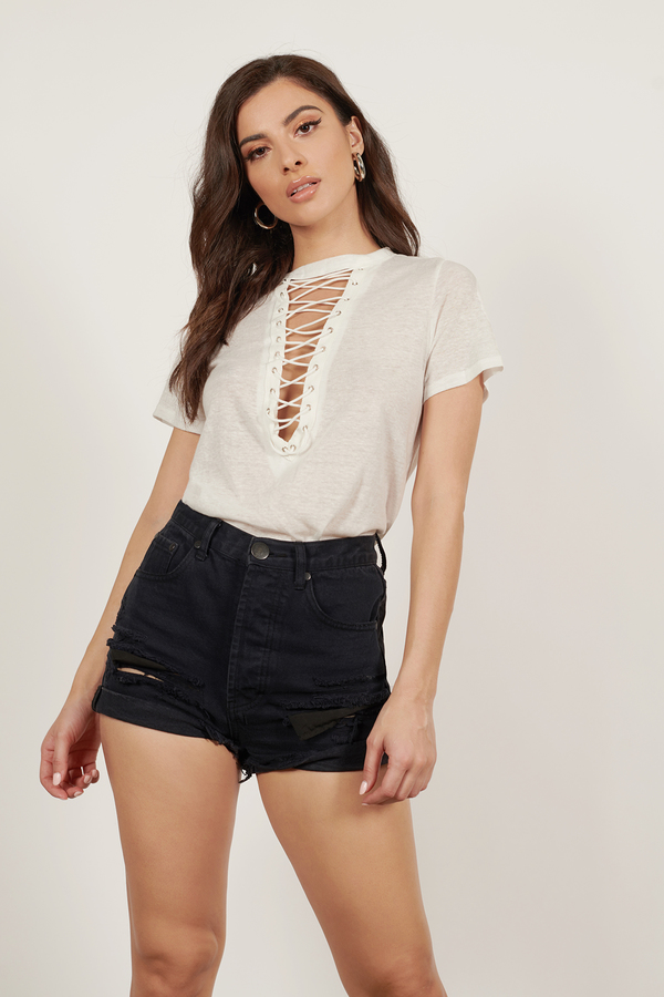 lace up tops white this is what you came for lace up tee
