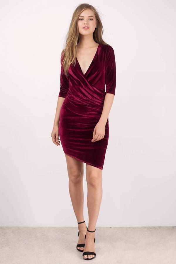 fc4e504aaf473 Red Bodycon Dress - Velvet Long Sleeve Dress - Sexy Red Evening ...