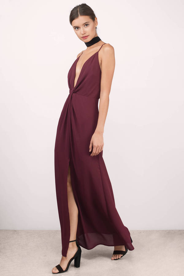 5f6d06bdcc Cute Wine Dress - Front Slit Dress - Cross Back Dress - $26 | Tobi US