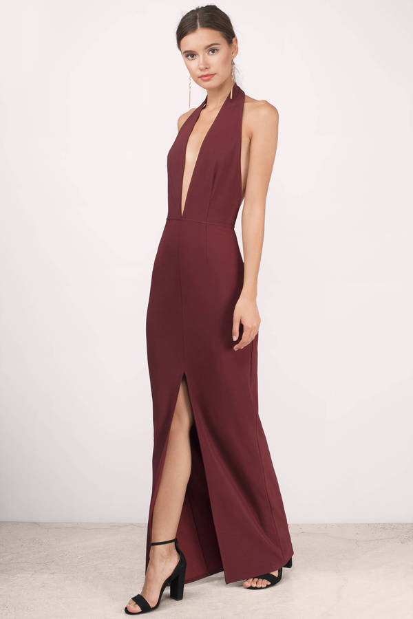 925007bb66 Wine Maxi Dress - Wine Dress - Deep V Dress - NZ  66