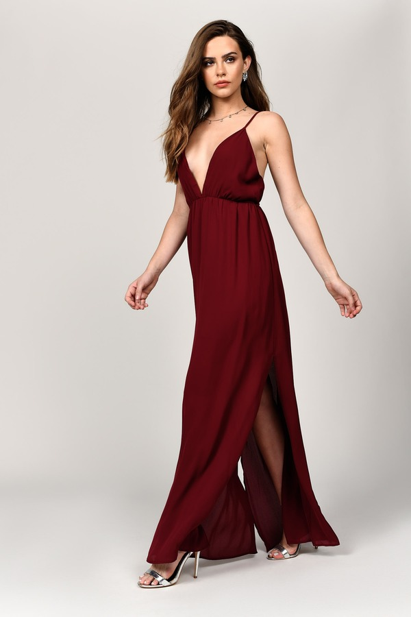 d4092883fe Burgundy Maxi Dress - Deep Plunge Dress - Burgundy Chiffon Dress ...