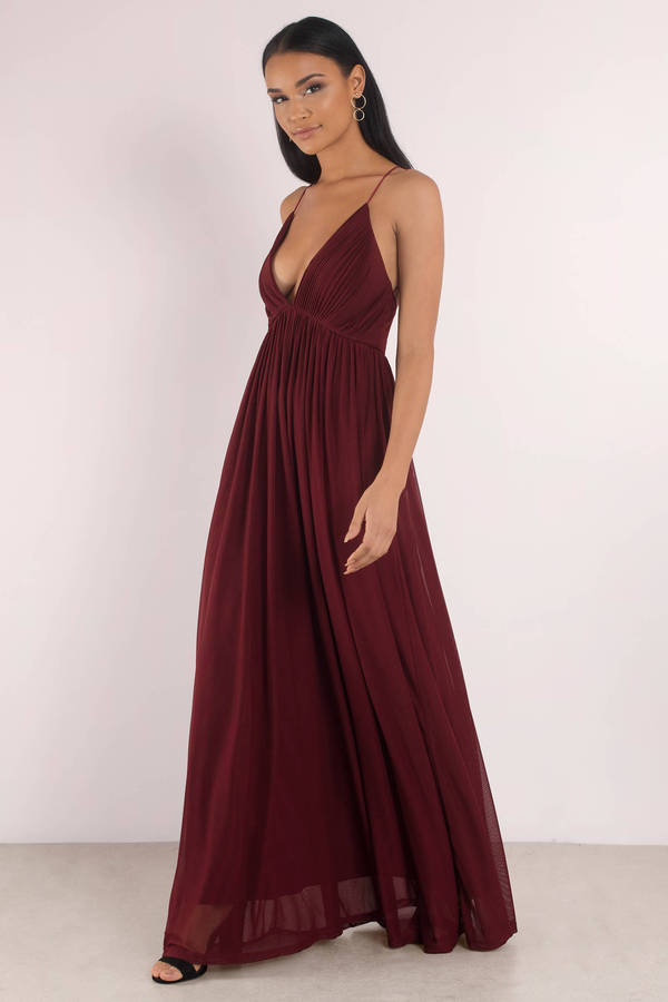aaed22813b Wine Dress - Pleated Dress - Deep V Dress - Sweep Dress - Maxi Dress ...