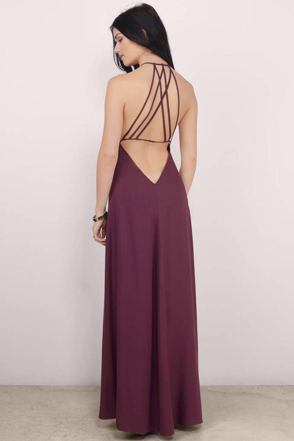 24473de09a Wine Maxi Dress - Wine Dress - Deep V Dress - NZ  27