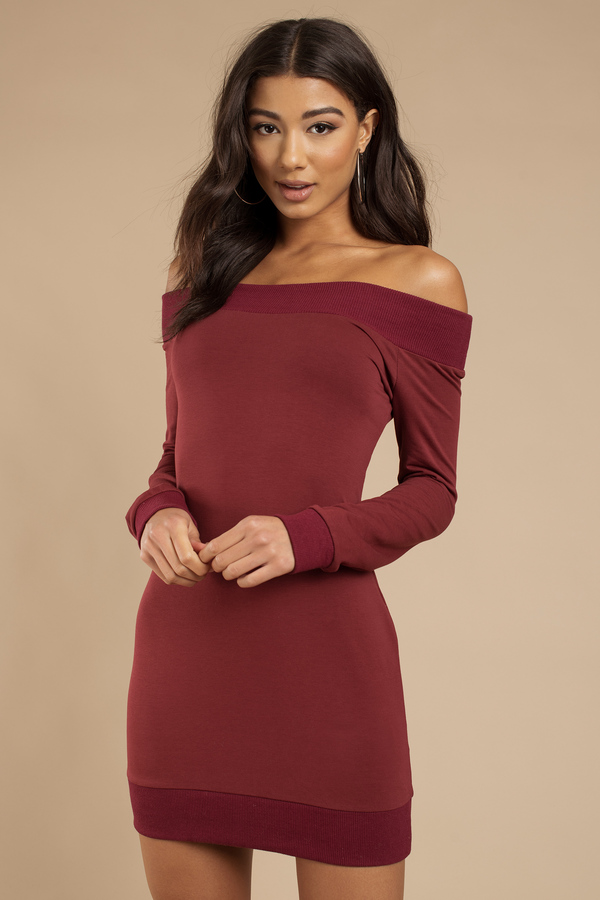 Long red sweater dress