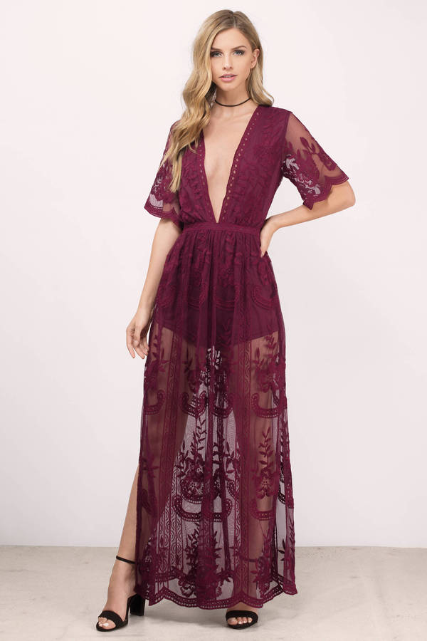 49fbf71f2e06 Wine Honey Punch Romper - Lace Romper - Wine Maxi Romper ...