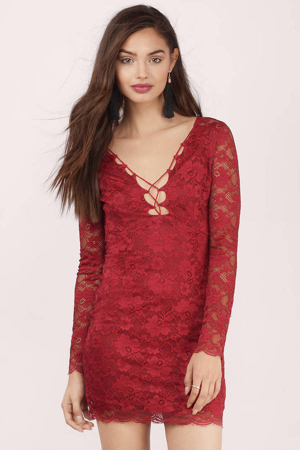 Red Long Sleeve Dress &amp Long Sleeve Red Dress  Tobi