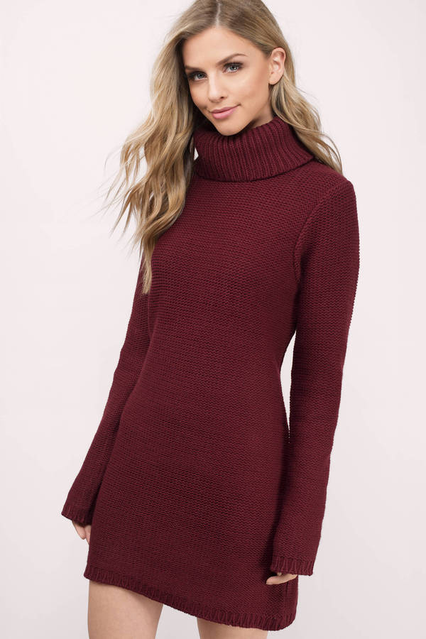 a3aadade506b Cute Wine Day Dress - Turtleneck Dress - Wine Sweater Dress - C  29 ...