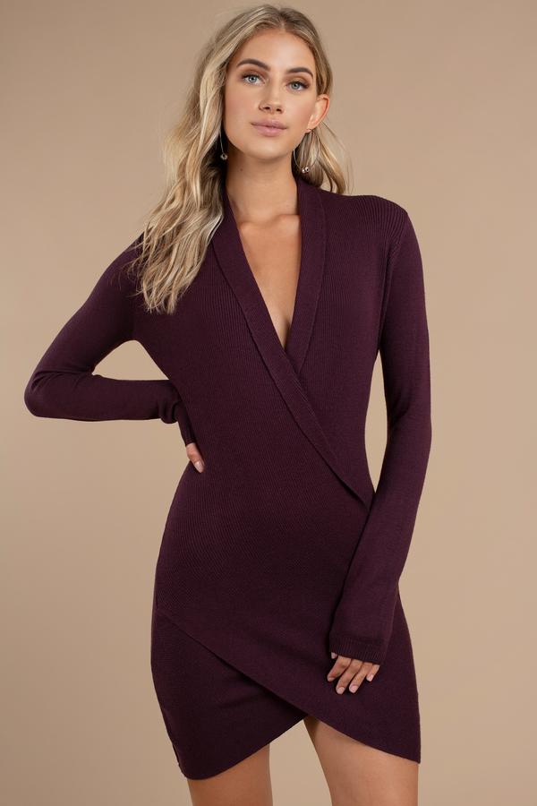 Lovely Mauve Dress - Wrap Dress - Surplice Hem Dress - $31 | Tobi US