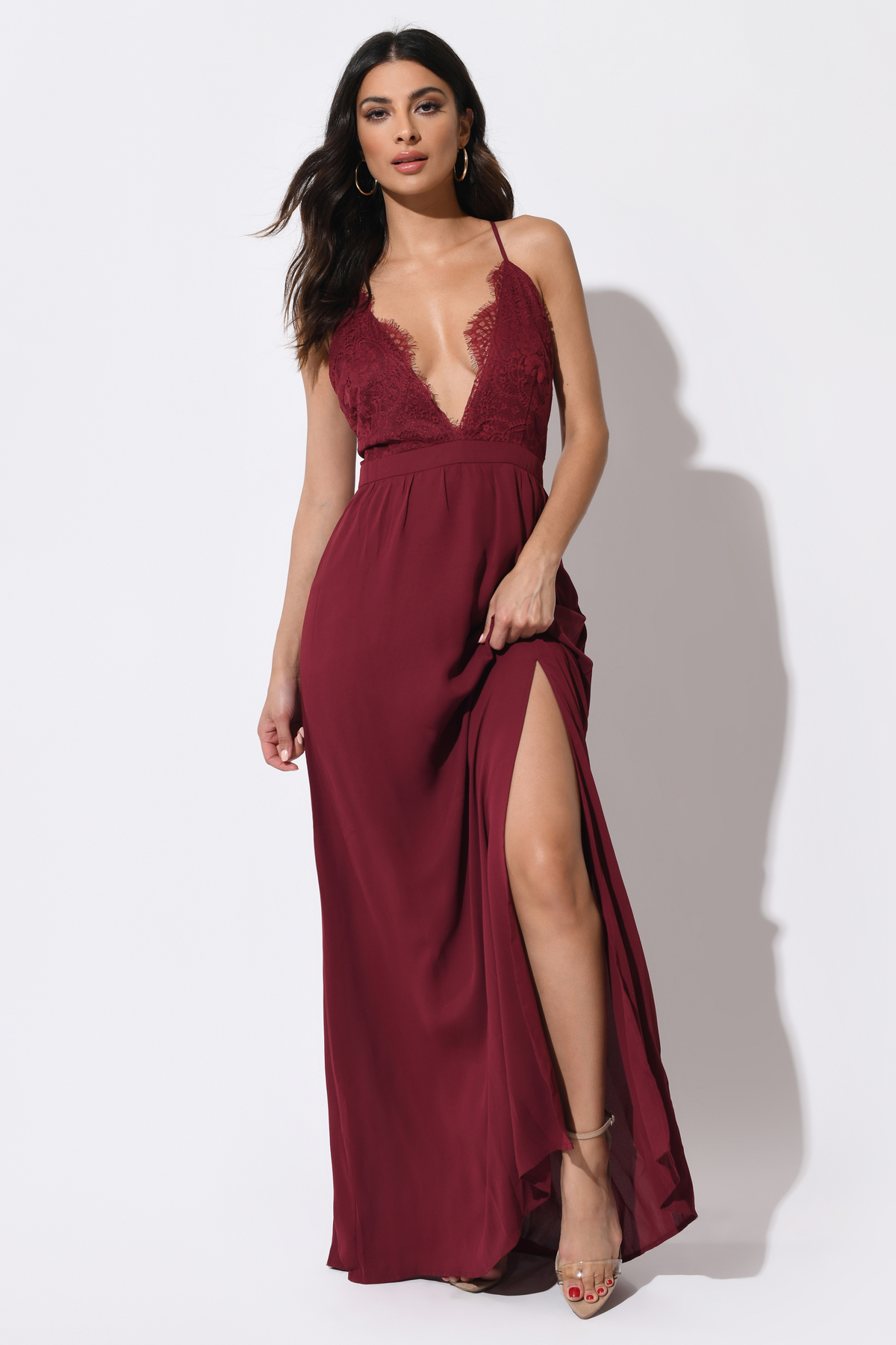 Opposites Attract Wine Lace Maxi Dress - $36.00 | Tobi