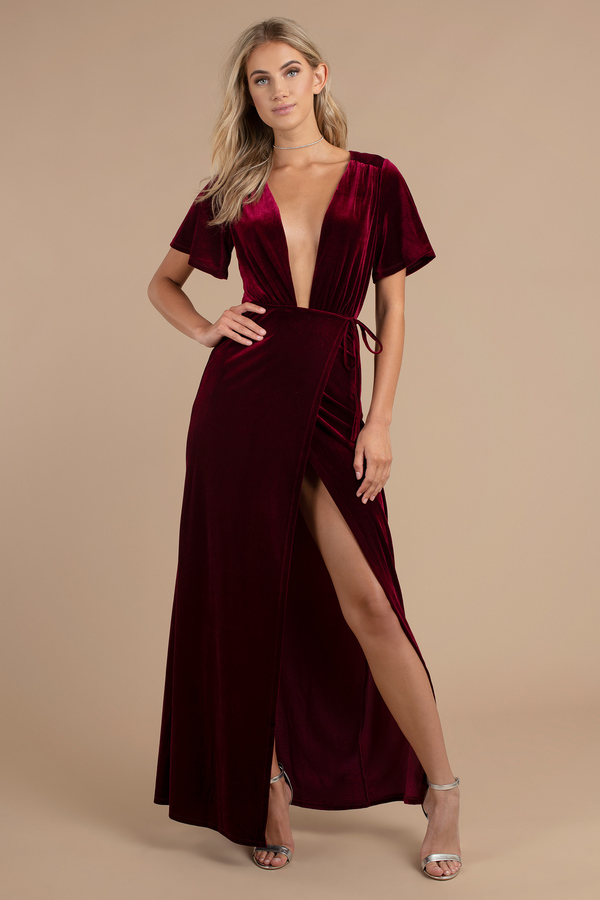 Winter Formal Dresses Wine Penelope Plunging Maxi Dress