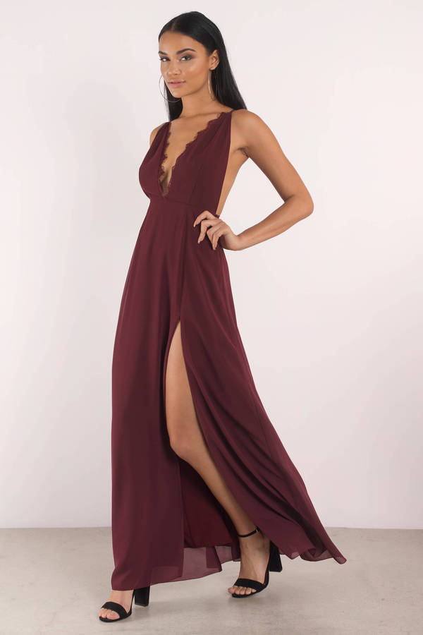 Winter Formal Dresses Wine Raelyn High Maxi Dress