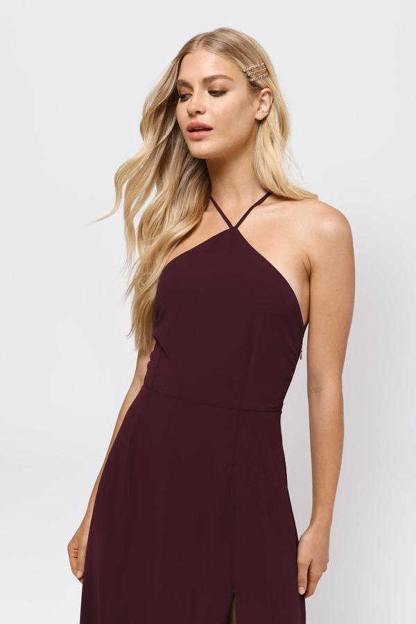 2a877bdd24 Sexy Wine Maxi Dress - Strappy Back Dress - Wine Front Slit Dress ...