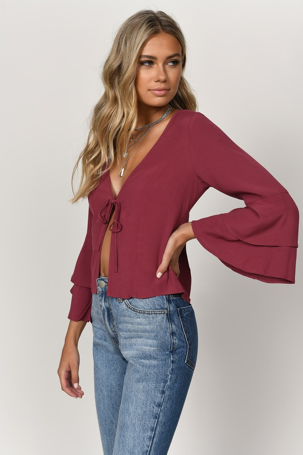 f94fac86a02b2 Wine Blouse - Front Tie Blouse - Wine Ruffle Sleeve Blouse -  28 ...