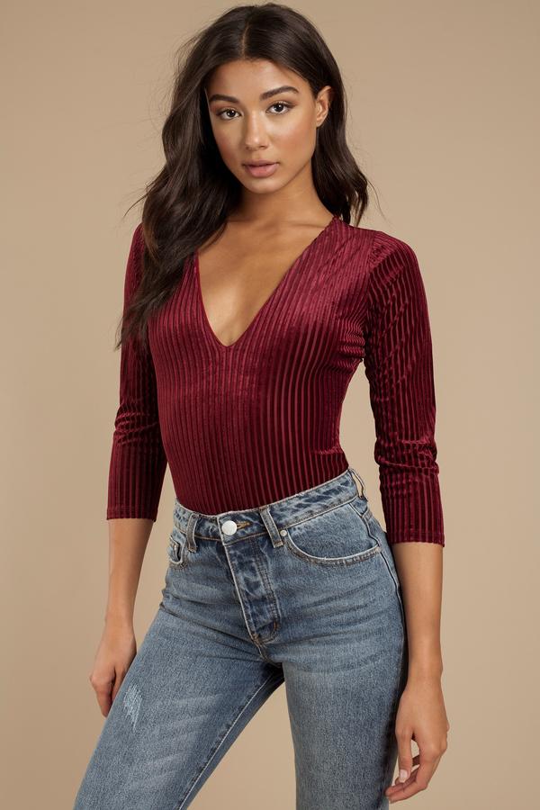 a96be825b8 Sexy Red Bodysuit - 3 4 Sleeve Bodysuit - Red Velvet Bodysuit - C ...