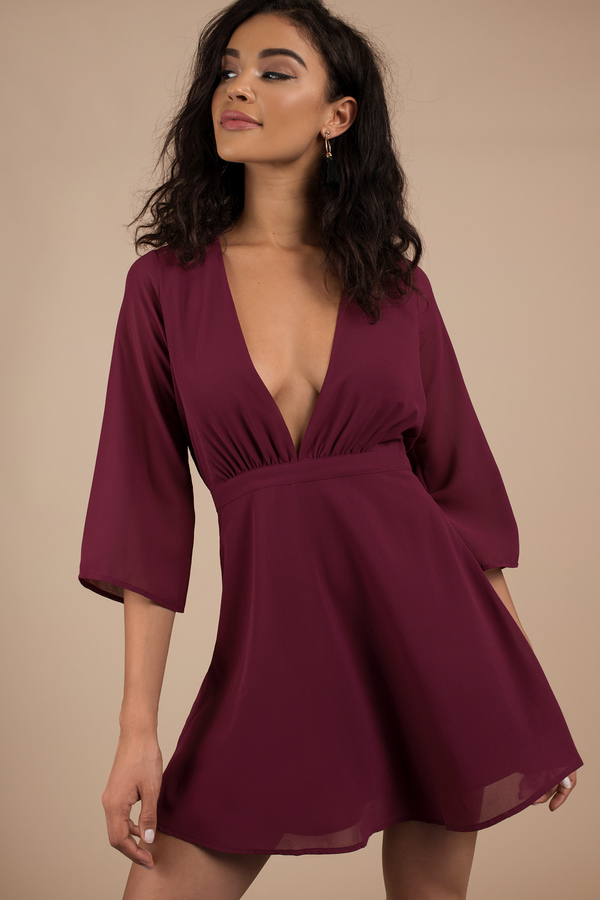 Deep V Neck Dress | Low Cut Dress, Plunging Neckline Dress | Tobi