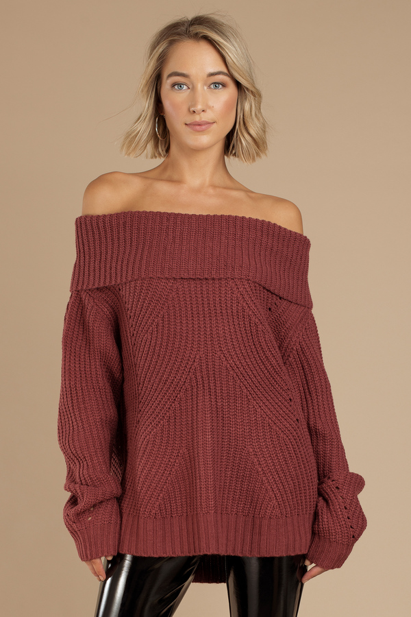 Red Sweater Foldover Sweater Off Shoulder Sweater Red