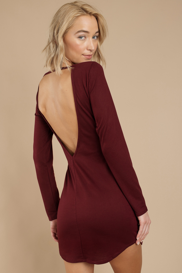 Incredible Sexy Wine Bodycon Dress Backless Dress 26 00 Hairstyles For Women Draintrainus