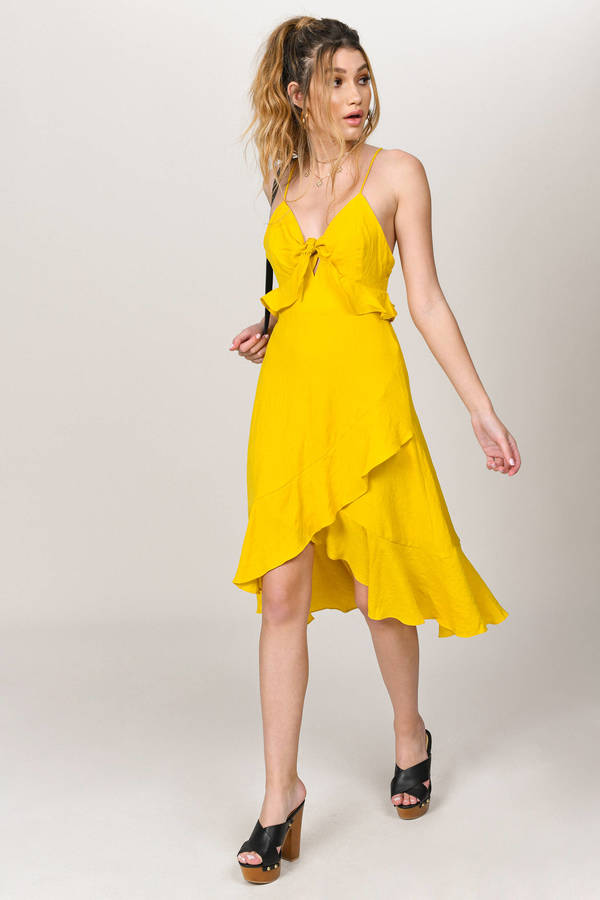 BETTER STOP YELLOW RUFFLE MIDI DRESS
