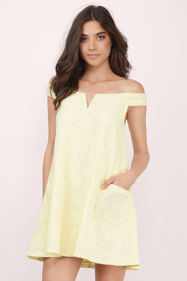 443dd23dd071 Yellow Day Dress - Off The Shoulder Dress - Yellow Day Dress -  19 ...