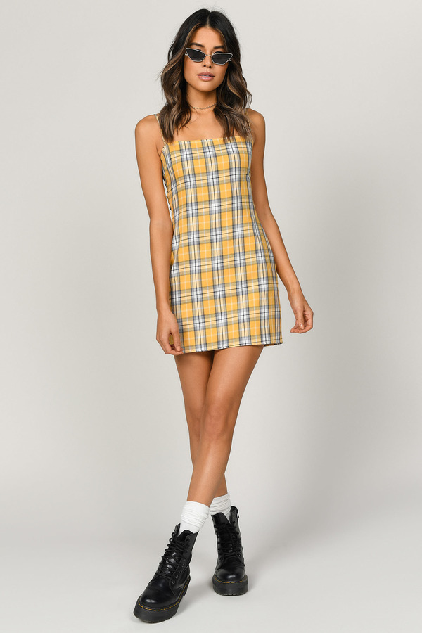 7c43371f3f5 Yellow Bodycon Dress - Plaid Cami Dress - Yellow Checkered Dress ...