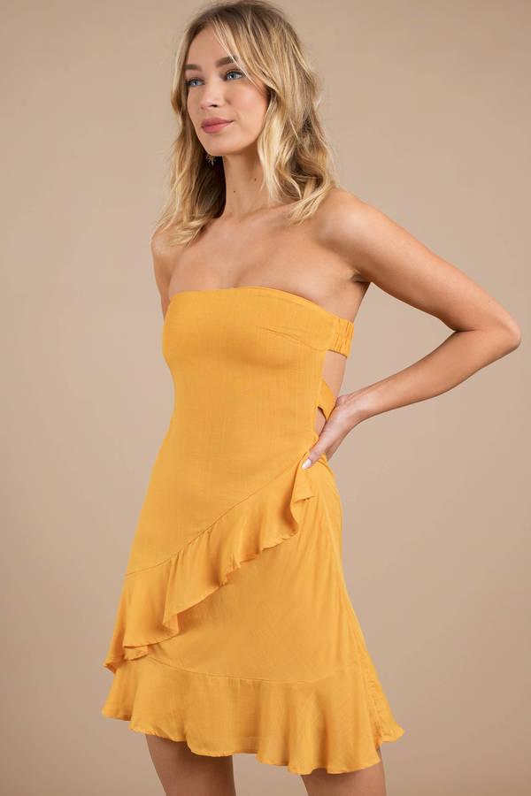 Yellow Skater Dress - Strapless Dress - Yellow