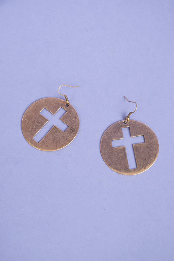 Framed Cross Earrings