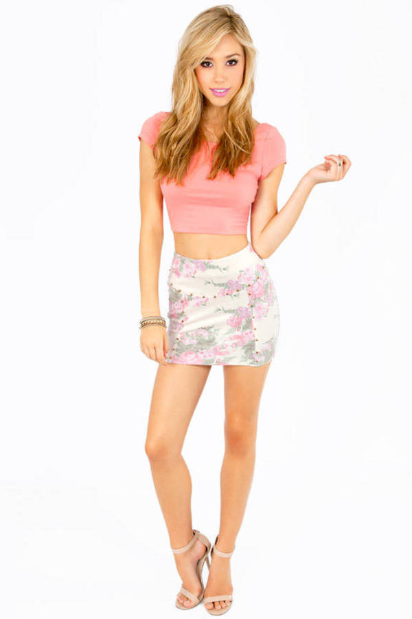 Floral Studded Mini Skirt