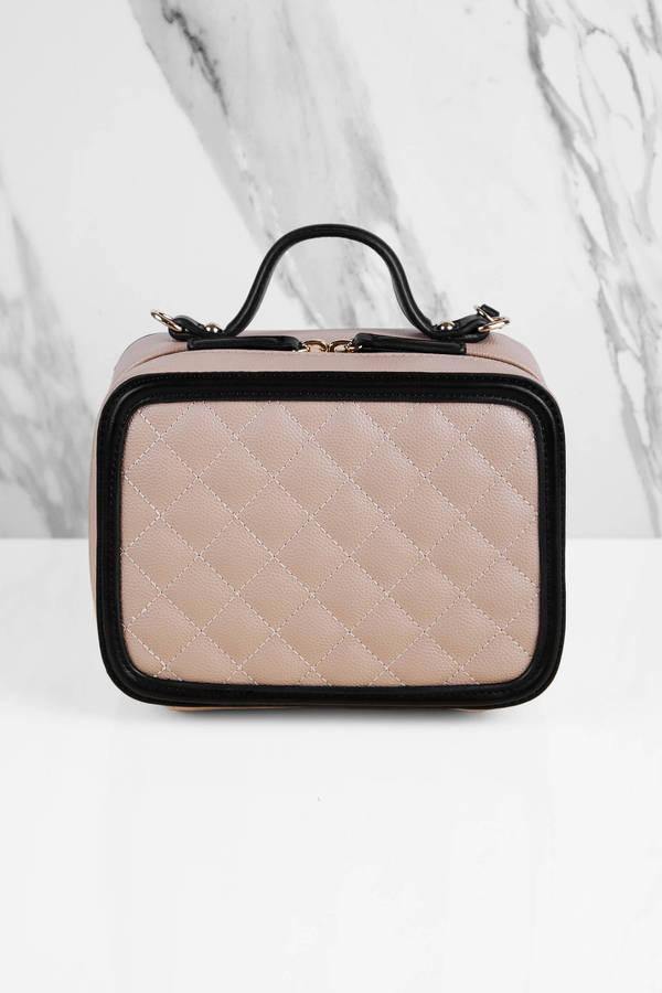 Tobi Purses Beige Julia Faux Lunchbox Cross Body Bag