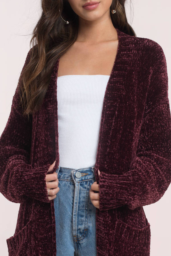 Cute Berry Cardigan - Long Sleeve - Open Front Cardigan - $88 ...