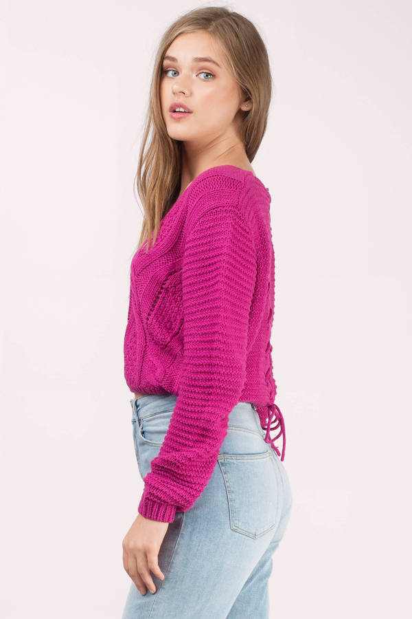 Berry Sweater - Pink Sweater - Cable Knit Sweater - Fuchsia Top ...
