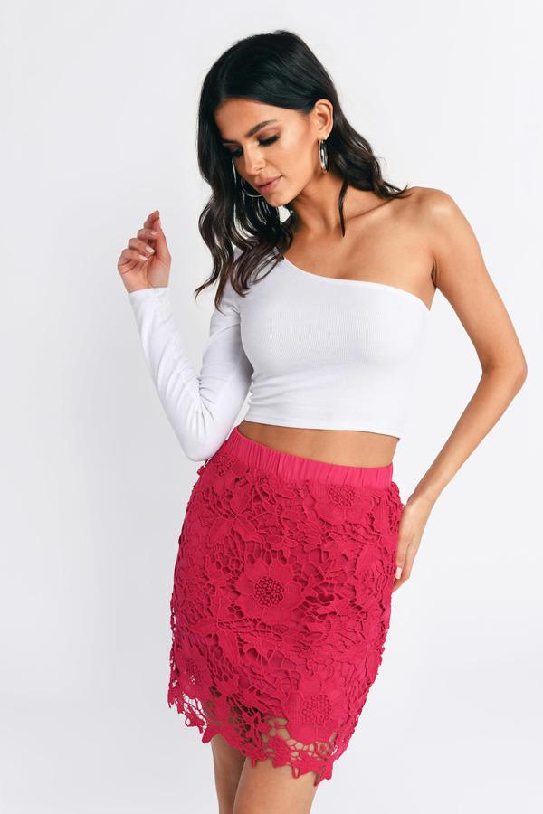 be979f6d1f01 Pink Skirt - Crochet Skirt - Red Floral Skirt - Berry Skirt - £5 ...