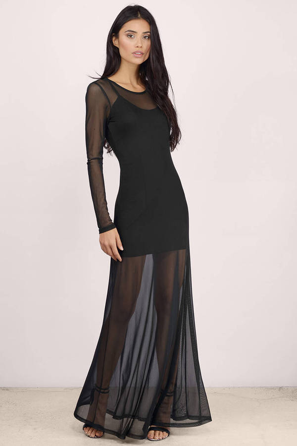 Black Maxi Dress - Black Dress - Long Sleeve Dress - $60.00