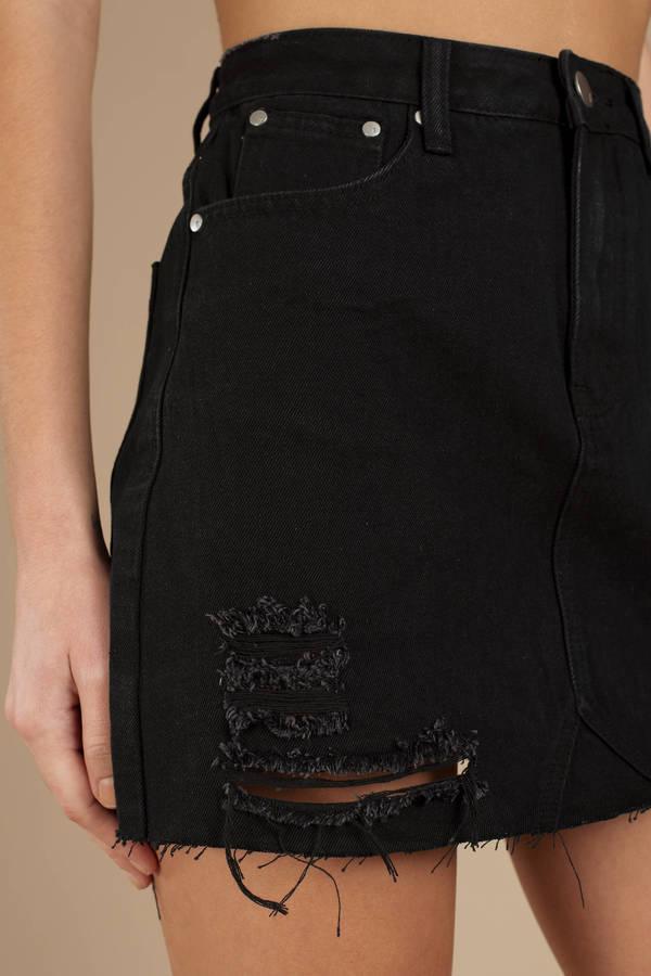 7b41b601e50c Albury Black Distressed Denim Skirt Albury Black Distressed Denim Skirt ...
