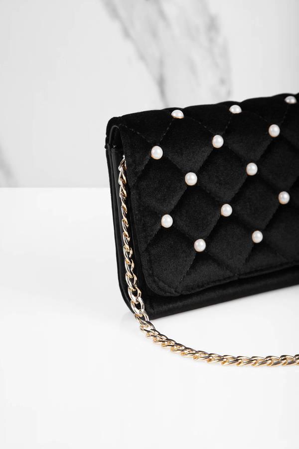 Tobi Handbags And Purses Black Ami Pearl Studded Velvet Cross Body Bag