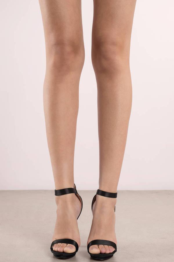 Amy Black Satin Ankle Strap Heels | Tobi