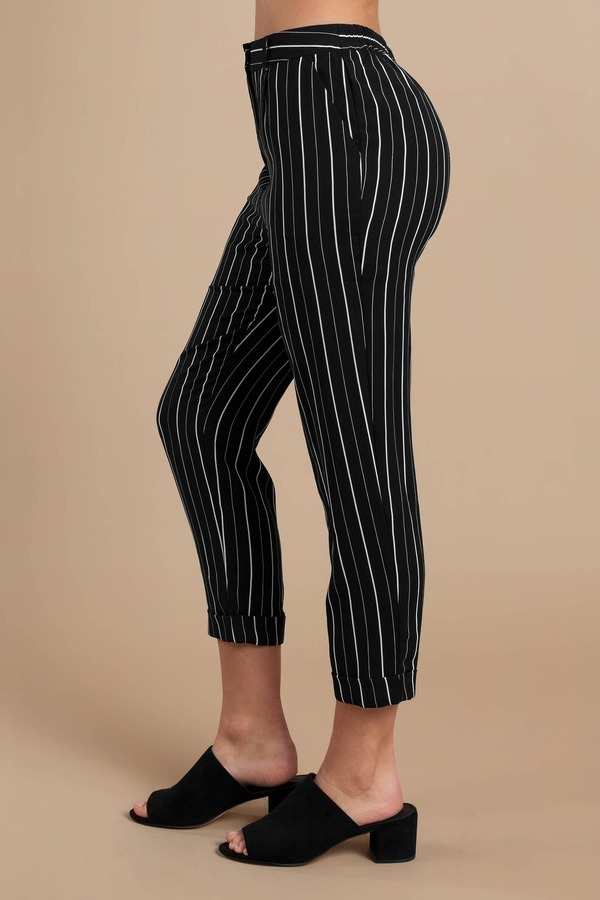 Black Pants - Tapered Stripe Pants - Black Pinstripe Capri ...