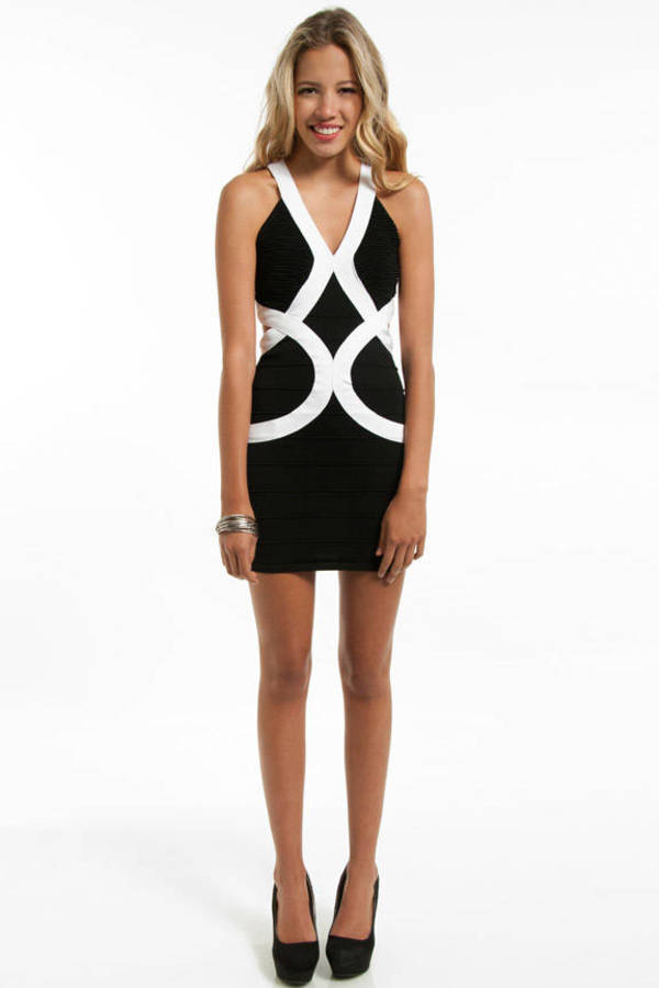 Racing Lines Bandage Dress