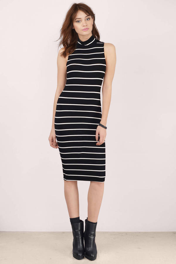 Cute Black And White Dress - Mock Neck Dress - Midi Stripe Dress - $42