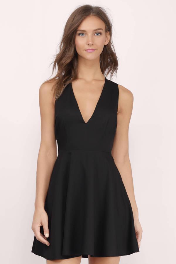 Cute Black Skater Dress - Backless Dress - $74.00