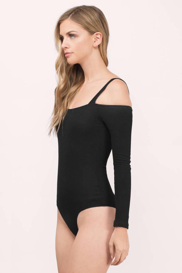 5c8c636e42 Cute Black Bodysuit - Cold Shoulder Bodysuit - Black Bodysuit - € 12 ...