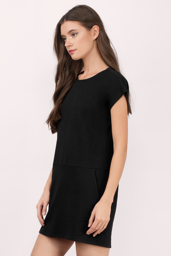 ... At Ease Sweat Black Shift Dress ...