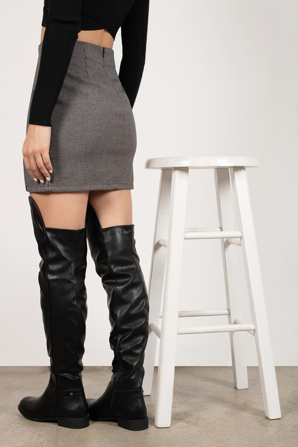 Crushed Velvet Chunky Heeled Over The Knee Boots
