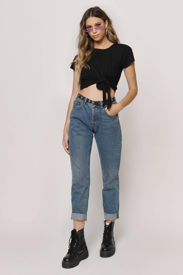 b62953929b1 Black Crop Tops | Sexy Lace Crop Tops, Long Sleeve Crop Tops | Tobi
