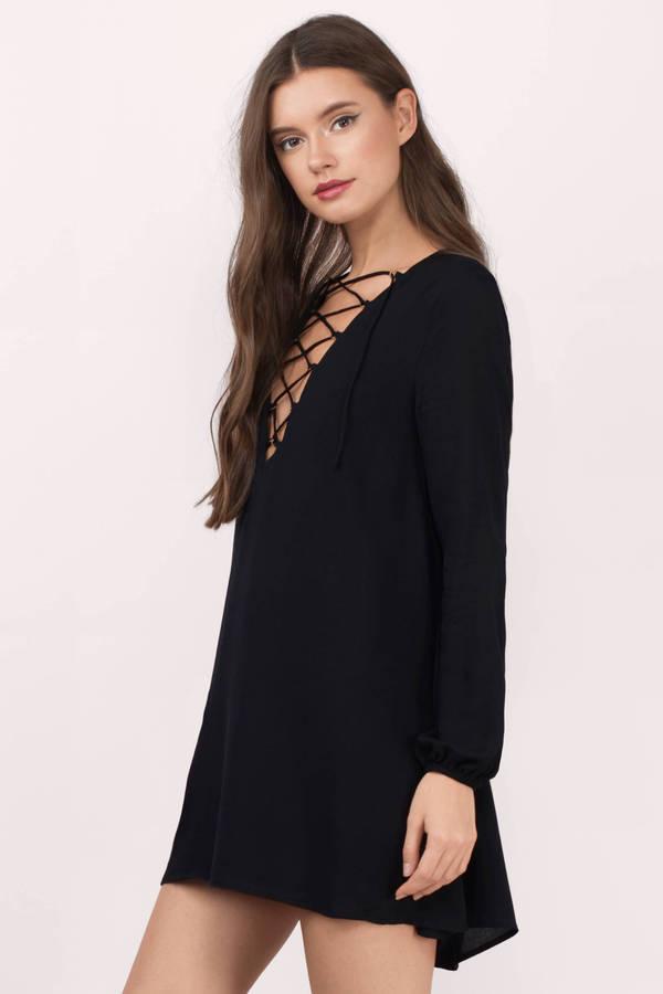 Black Shift Dress - Black Dress - Long Sleeve Dress - $72.00